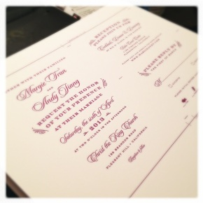 Sneak Peek: Purple Vintage Winery Letterpress Wedding Invitation Suite